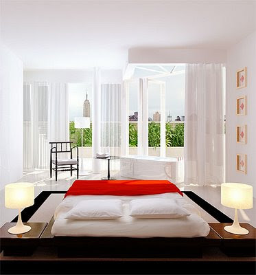 minimalist bedroom design for blended wall color, white and ivory