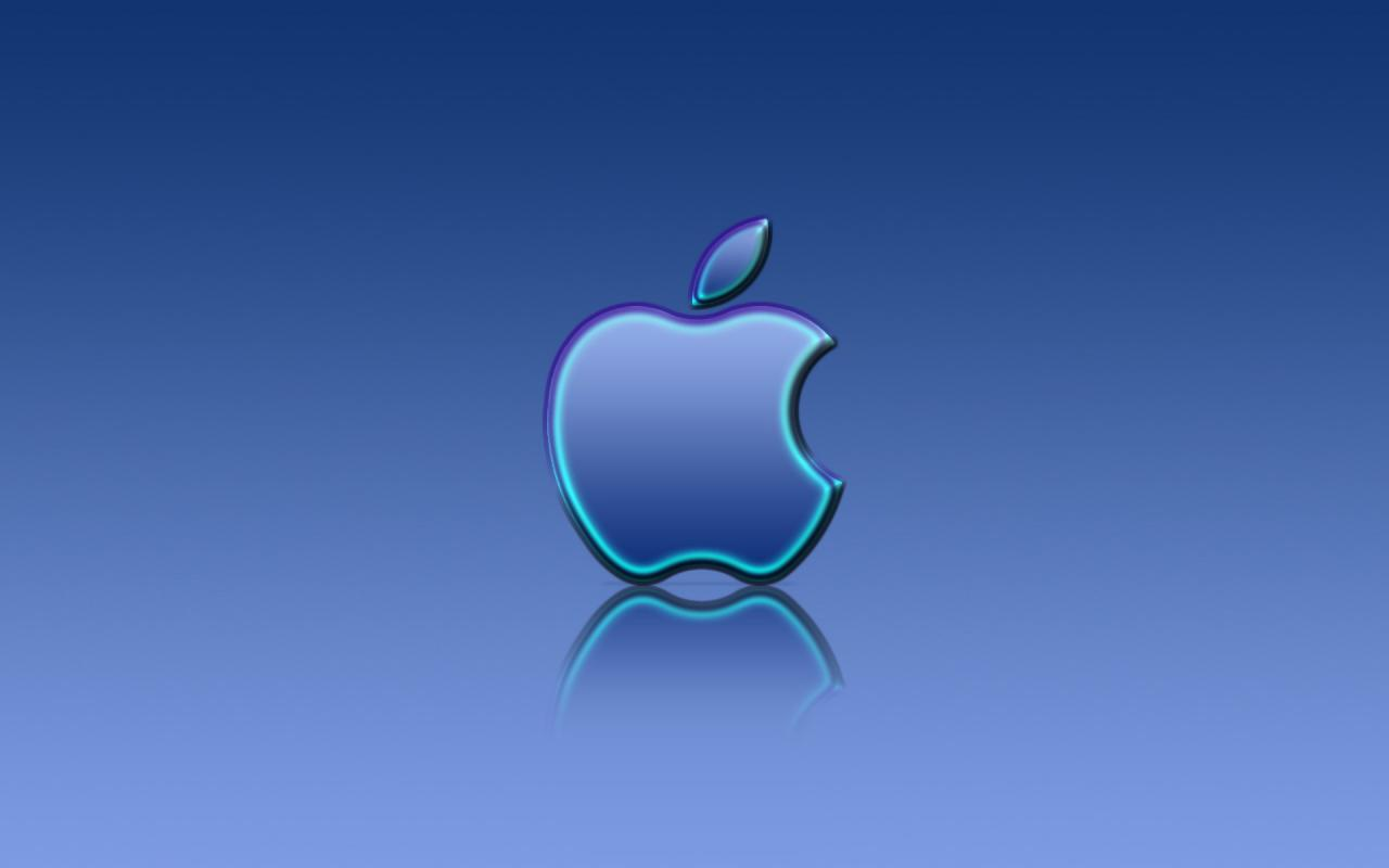Apple Blue Reflexion 1280 x 800 widescreen Pc Wallpaper