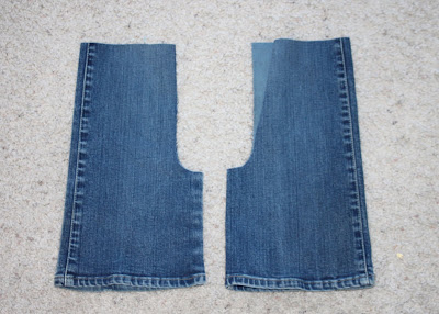 Sewing on Vacation denim gauchos before via lilblueboo.com