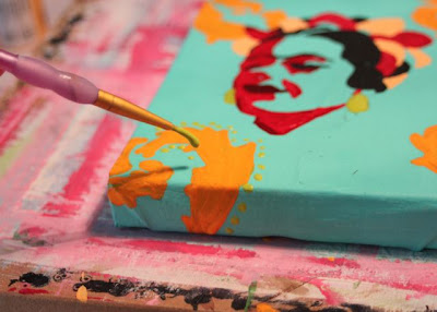 How to make a distressed folk art-style painting. DIY tutorial step 7 via lilblueboo.com