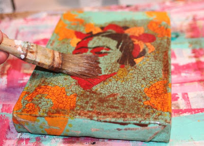 How to make a distressed folk art-style painting. DIY tutorial step 12 via lilblueboo.com