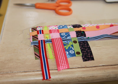 Scrap Ribbon Camera Strap Cover (A Tutorial) step 2 sew & weave ribbon via lilblueboo.com