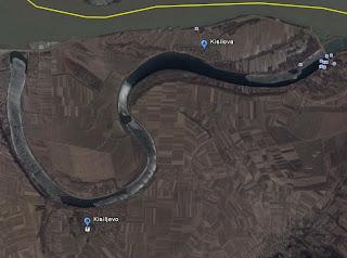 Carte GoogleEarth avec Kisiljevo et Kisilova de part et d'autre du bras mort du Danube(cliquer pour agrandir)