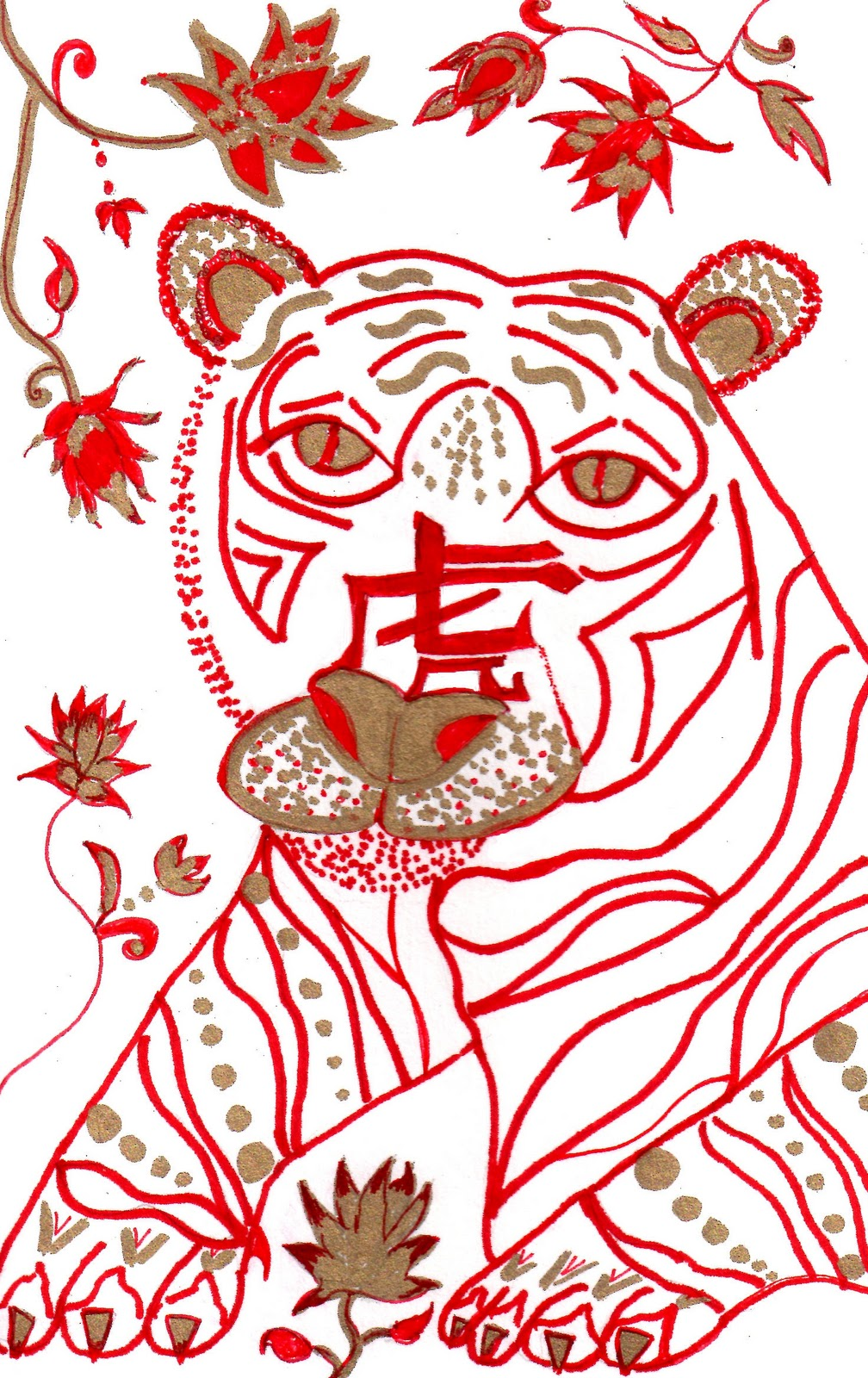 In the center of the tiger s face is the chinese symbol for tiger