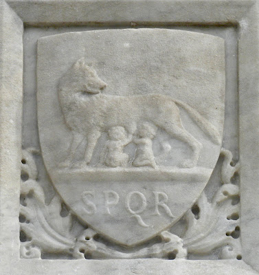 I found SPQR with this image of Romulus and Remus nursing from the she-wolf