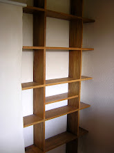 oak alcove book shelves