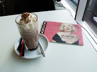 Hot chocolate and Gender Check brochure; photo: Val Phoenix