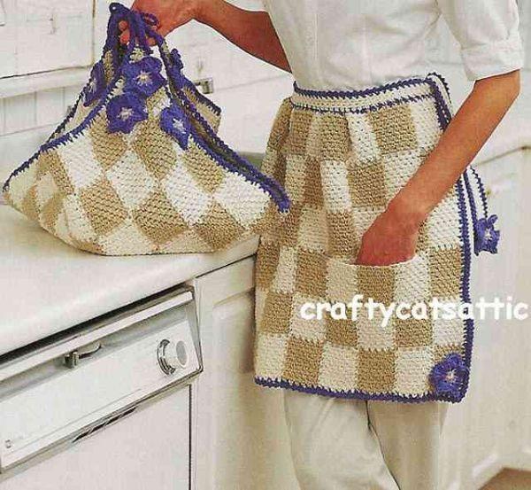 onluk19 Çok şık örgü mutfak önlükleri