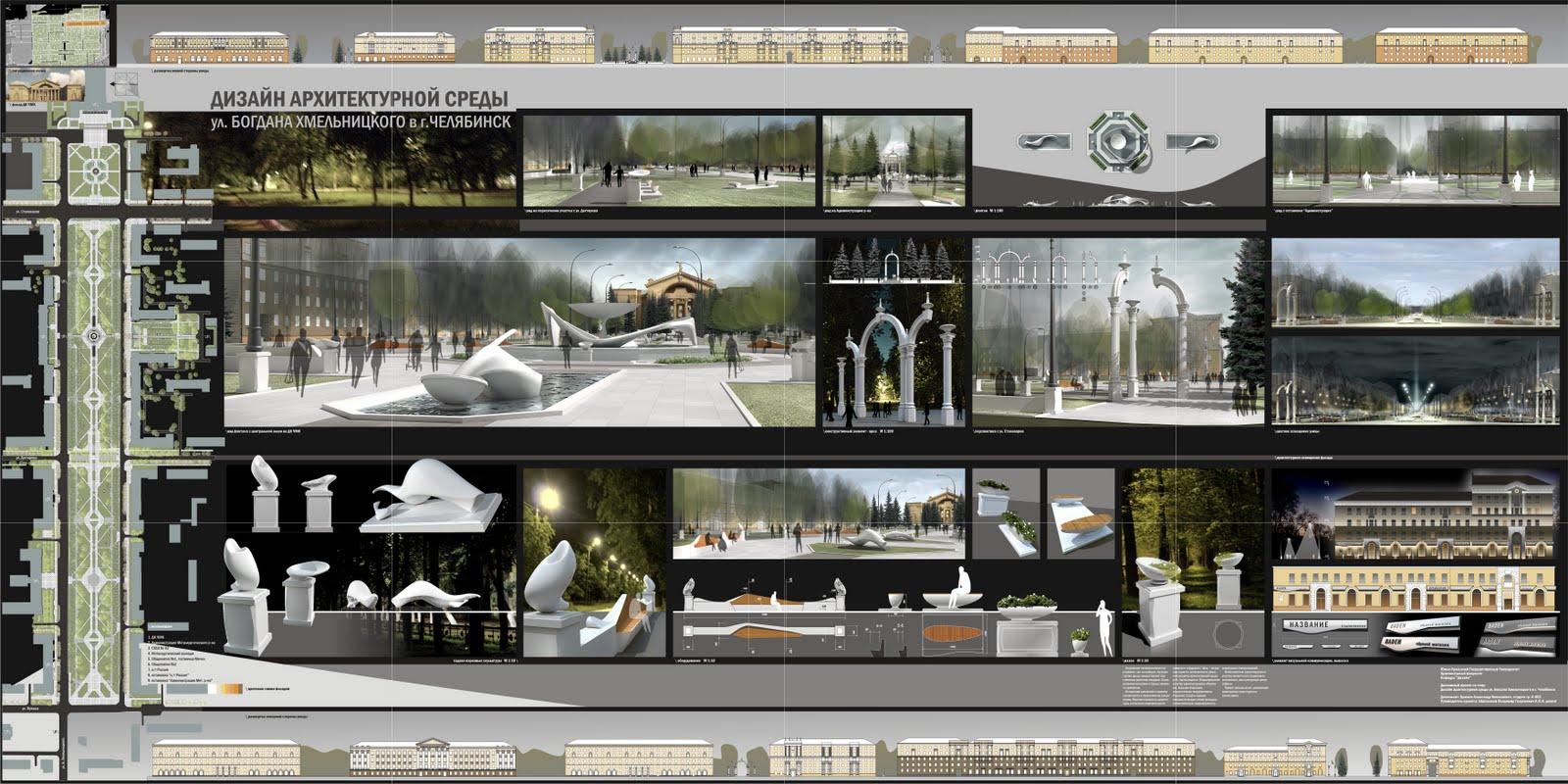 мастерская А Б дизайн архитектурной среды ул Б Хмельницкого в  дипломный проект 2009 пояснительная записка doc ПЛАНШЕТ 7000х3500px