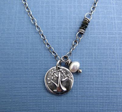 silver charm tree life jewelry necklace birthstone tourmaline
