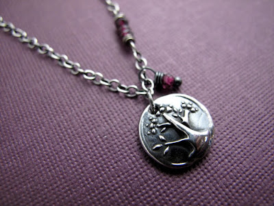 silver charm tree life necklace jewelry garnet birthstone