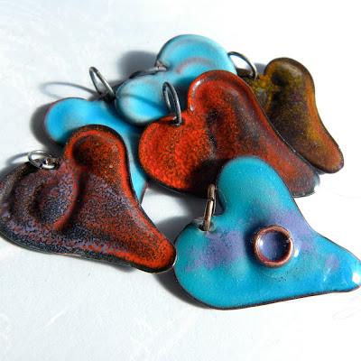 copper heart charm torch fired enamel jewelry pendant