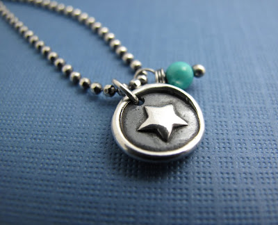 silver star charm necklace jewelry turquoise