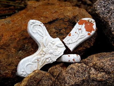 broken ceramic cross mexican southwest