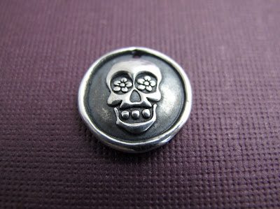 silver day of the dead sugar skull charm