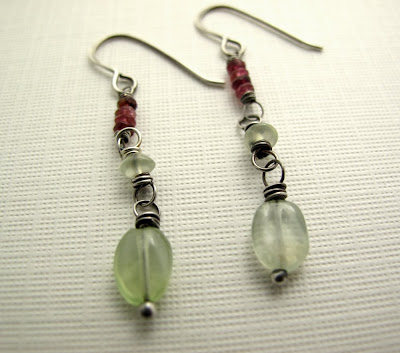 prehnite pink tourmaline earrings
