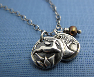 silver gazelle antelope tree charm necklace