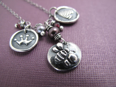 silver charm story necklace queen bee