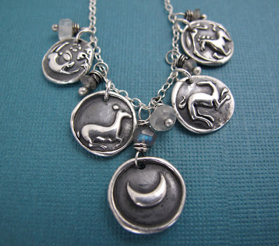 silver charm animal story necklace moon dog rabbit