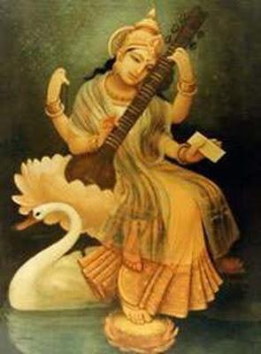 painting saraswati swan hindu goddess