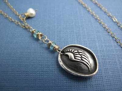silver angel wing charm gold necklace