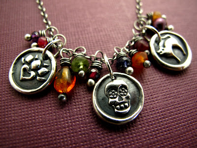 silver charm sugar skull day of the dead necklace jewelry bracelet