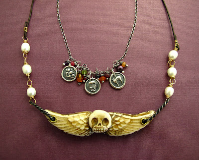 polymer clay winged skull necklace jewelry