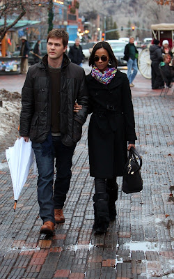 Zoe Saldana and fiance Keith Britton braving the cold in Aspen