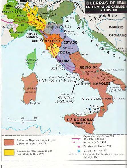Mapa - Las Guerras de Italia en Tiempos de Carlos VIII y