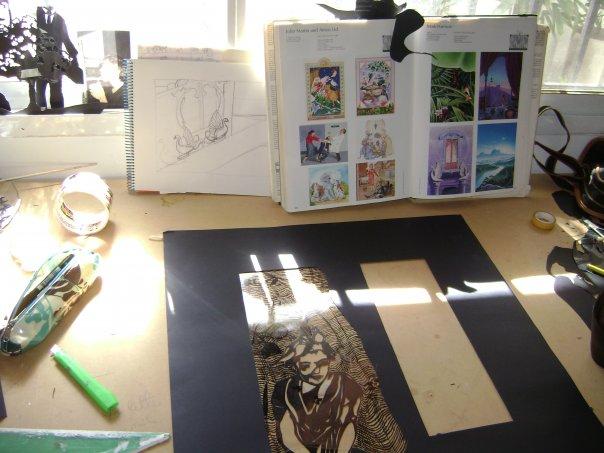 trabajando en el taller