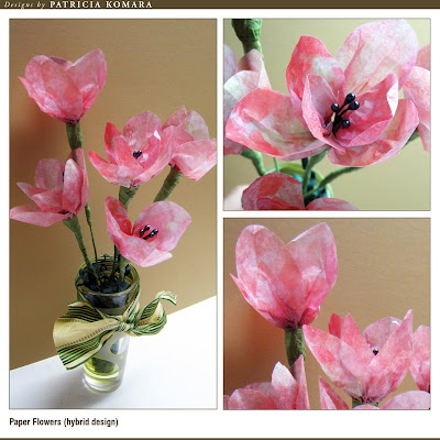 Komara designs paper flowers at scrapbookgraphics that has instructions and lots of photos showing how to prepare the trace paper for printing and how to assemble the flowers mightylinksfo