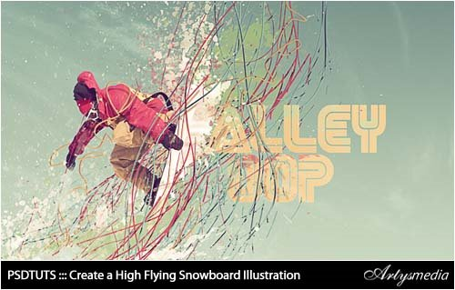 PSDTUTS ::: Create a High Flying Snowboard Illustration