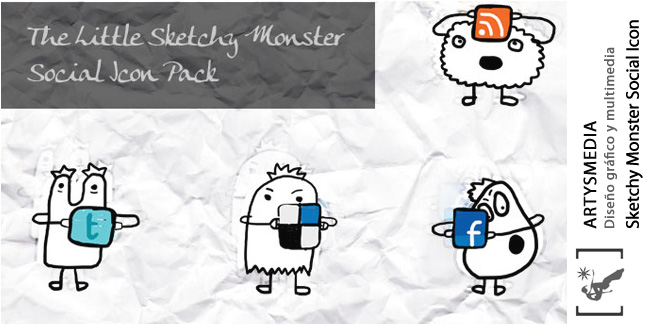 The Little (Free) Sketchy Monster Social Icon Pack