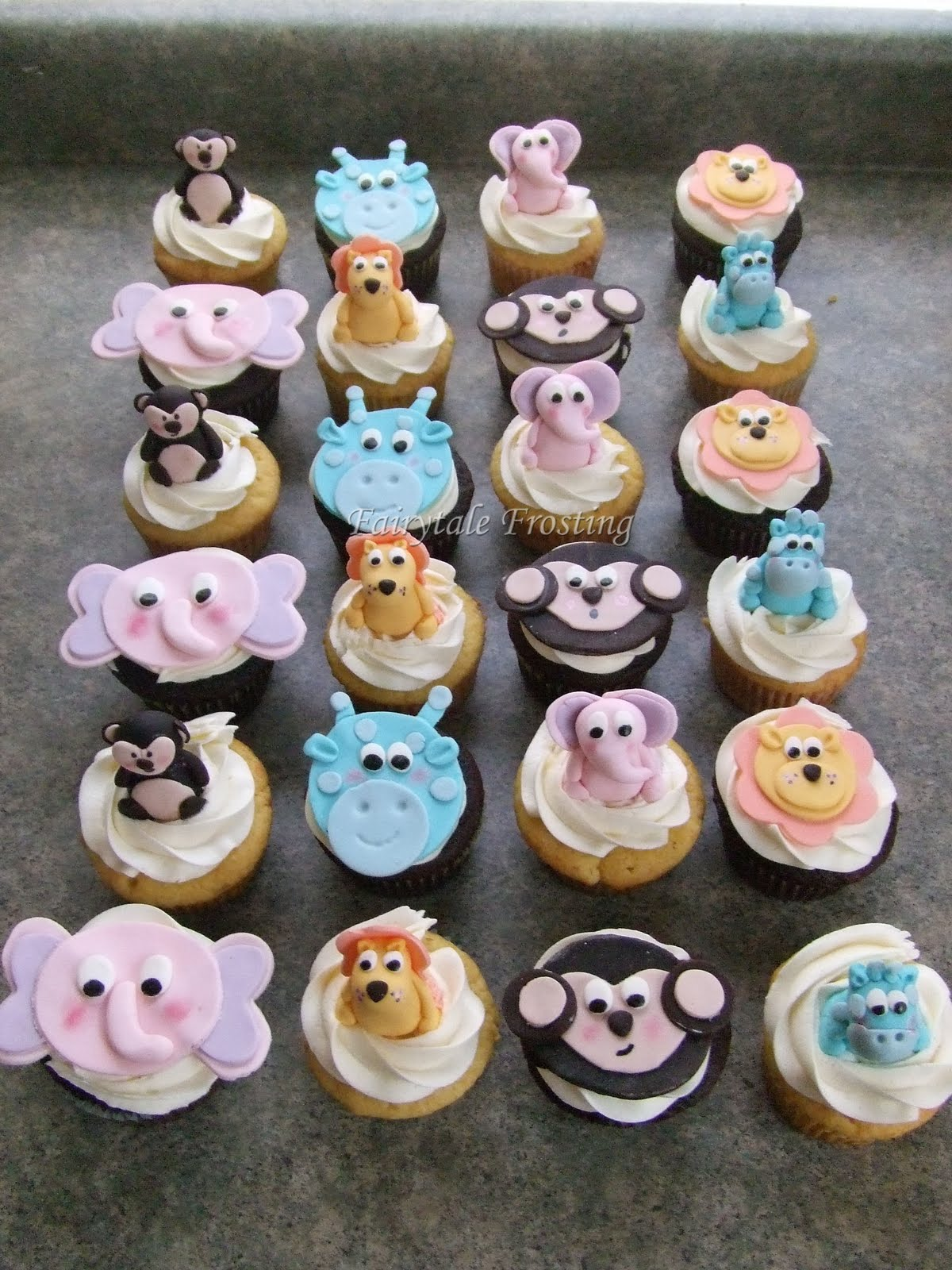 Baby Shower Ideas Cupcake Themed : Fairytale Frosting: Pastel Jungle Baby Shower Cupcakes