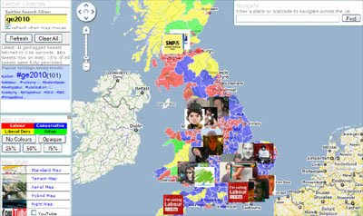 geome has produced this google map to display geotagged tweets over a constituency map of britain