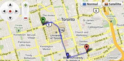 maps mania toronto transit planner on google maps