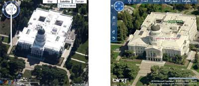 google and bing maps birds eye view