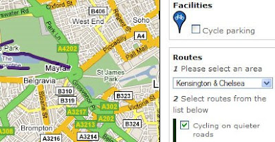 screenshot of TFL cycling map