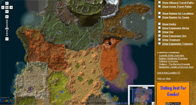 Maps mania top 5 video game maps this google map created for world of warcraft includes quick links to common locations and options to show the locations of herbs treasure ore and other gumiabroncs Image collections