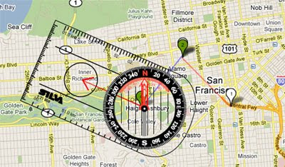 how to use compass in google maps