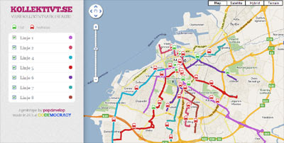 Maps Mania A RealTime Bus Map For Malmö - Sweden bus map
