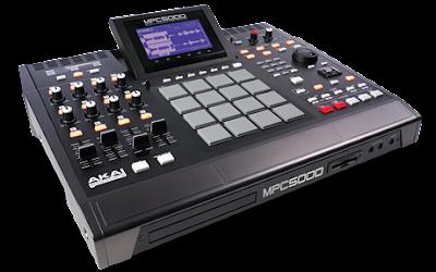 Vista superior del controlador MIDI akai mpc5000, se aprecian gran cantidad de controles y un buen diseño