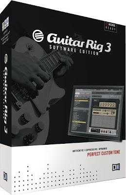 Caja con la que se distribuye el software de emulación de sonidos de guitarra Guitar Rig 3