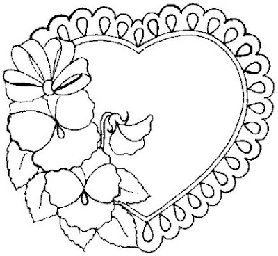 Valentine Heart Coloring Page Flowers