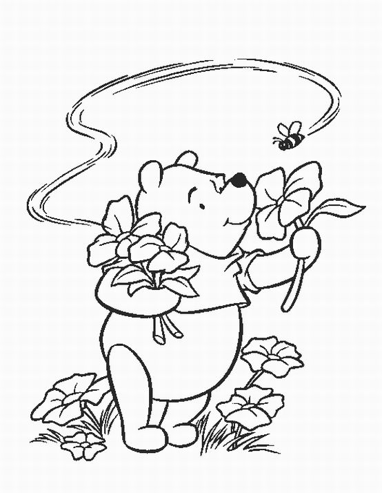 Thanksgiving Coloring Pages, Winnie The Pooh Thanksgiving Coloring  title=