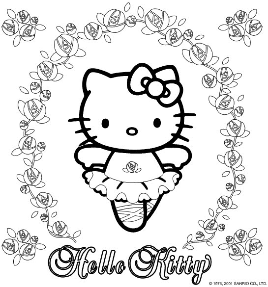 cute hello kitty colouring pages. Ballerina Hello Kitty Coloring