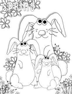 spring bunnies coloring pages