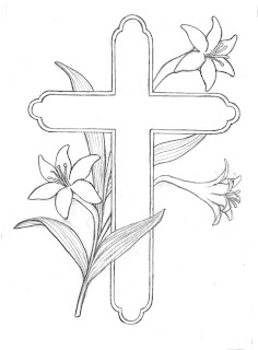 easter lily with cross coloring printables