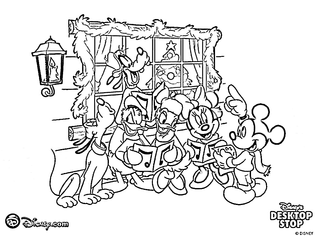 free walt disney christmas coloring pages