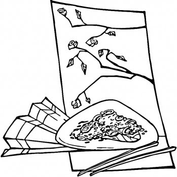 Chopsticks And Chinese Food Printables Coloring Pages
